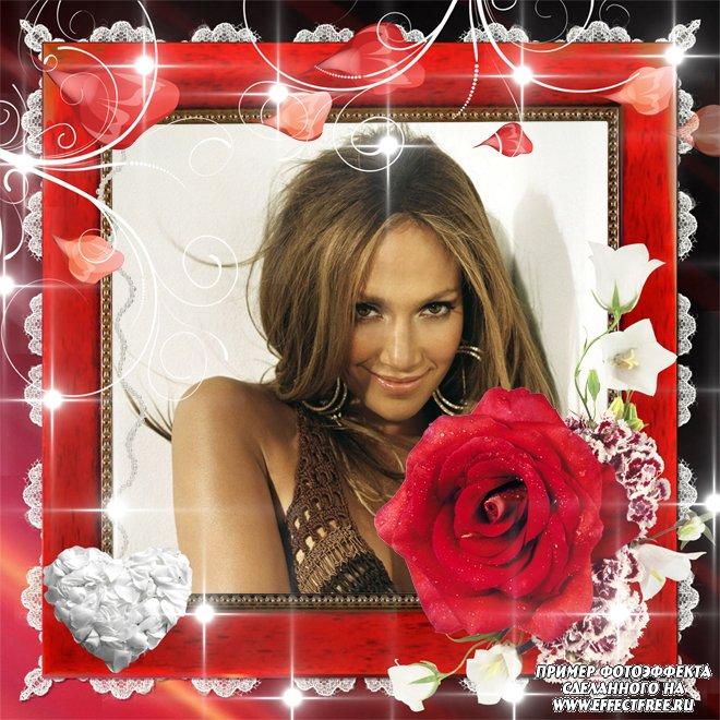 Рамочки своими руками с красной розой, сделать онлайн фотошоп