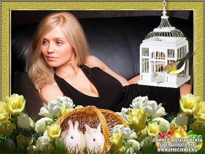 Рамки онлайн на русском к празднику Светлой Пасхи, сделать онлайн фотошоп