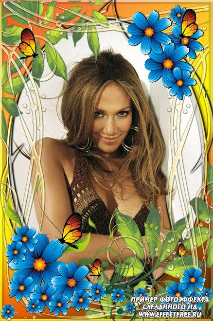 Рамочки для фото для женщин с цветами и бабочками, сделать в онлайн редакторе
