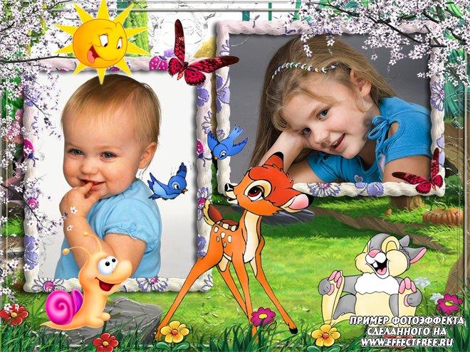 Вставить 2 фото в веселую детскую рамочку с Бэмби, сделать онлайн