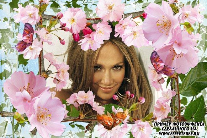 Онлайн рамка с розовыми цветами, сделать онлайн фотошоп