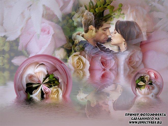 Коллаж для влюбленных с нежными розами онлайн