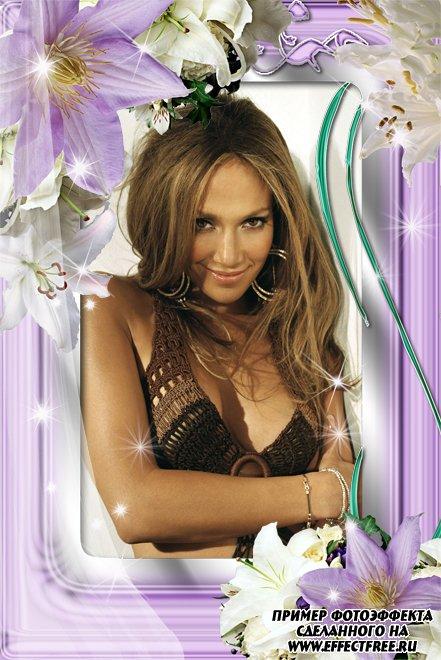 Красивая цветочная рамка для фото для женщин, сделать в онлайн фотошопе