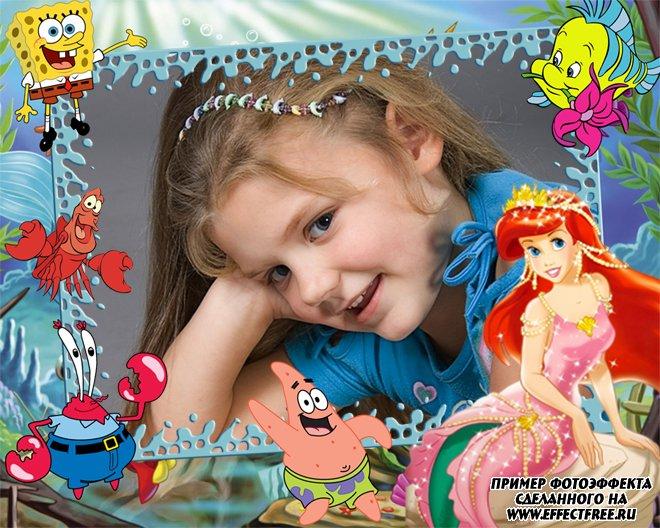 Фоторамочка для детей с героями мультфильмов, вставить фото в рамку онлайн
