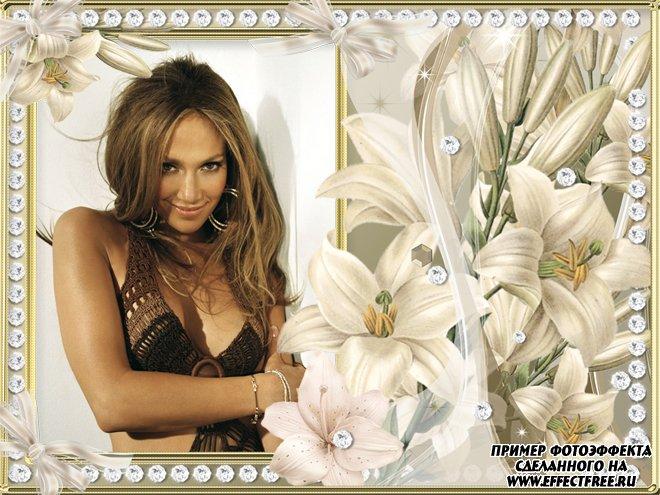 Создать рамку онлайн с цветами и жемчугом, сделать онлайн фотошоп