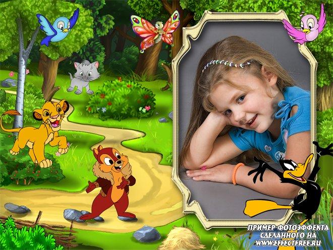 Рамочки для фотографий для детей с героями мультиков, вставить фото онлайн