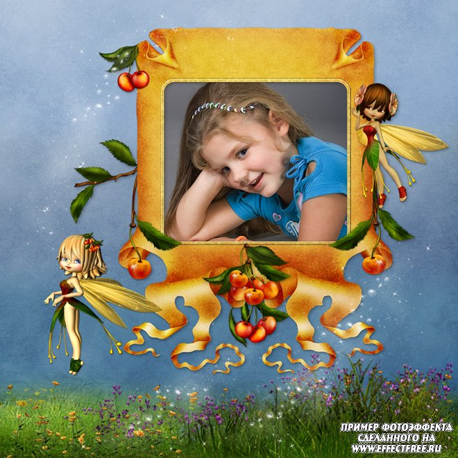Детская рамка в голубых тонах с феями, сделать онлайн фотошоп