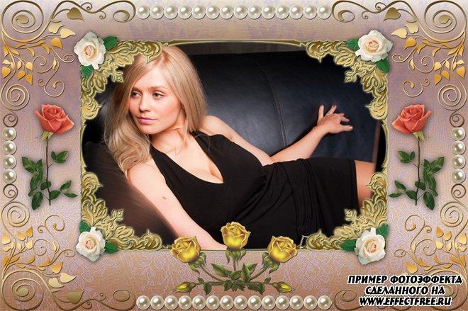 Вставить фото в рамку в цветочном обрамлении, сделать онлайн фотошоп