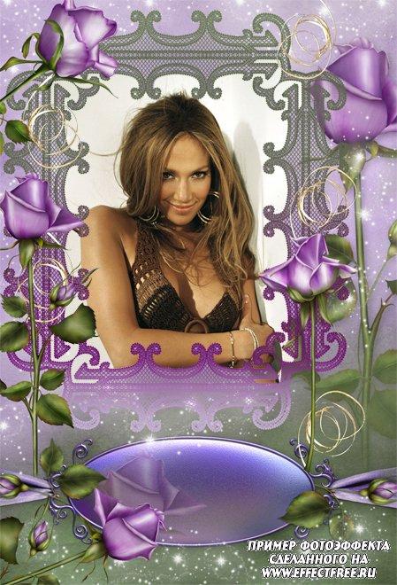 Рамка для фото прекрасных женщин с цветами, сделать в онлайн фотошопе