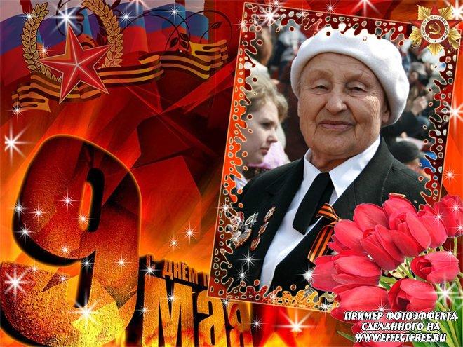 Рамка для фото с тюльпанами на 9 мая День Победы, сделать в онлайн редакторе