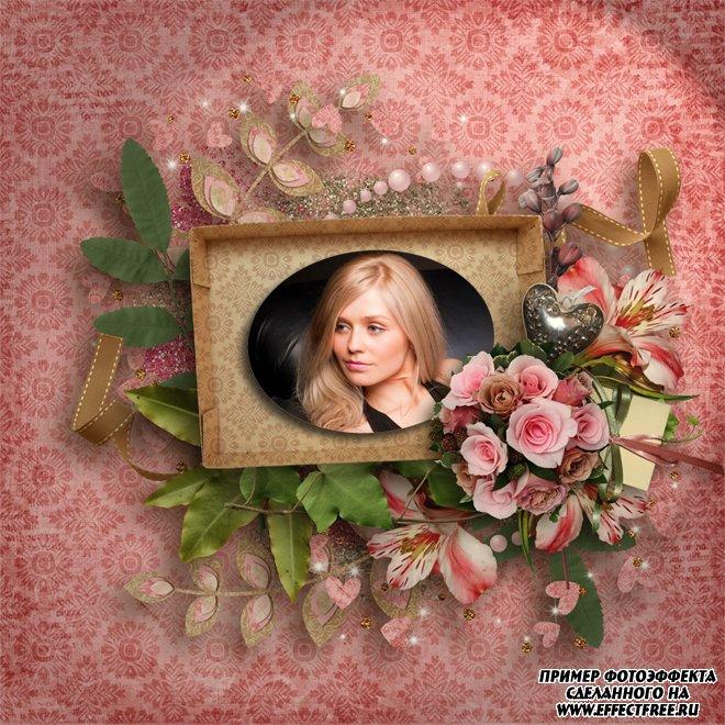 Создать скрап-рамку онлайн с розами, сделать онлайн фотошоп