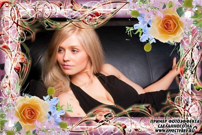 Фоторамочка с красивыми розами, вставить фото в рамку онлайн