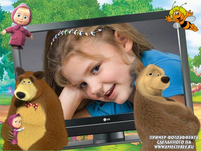 Сделать красивую детскую рамку с Машенькой и медведями онлайн