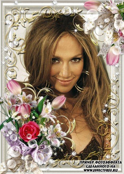 Вставить фото в рамку с  розовыми цветами онлайн