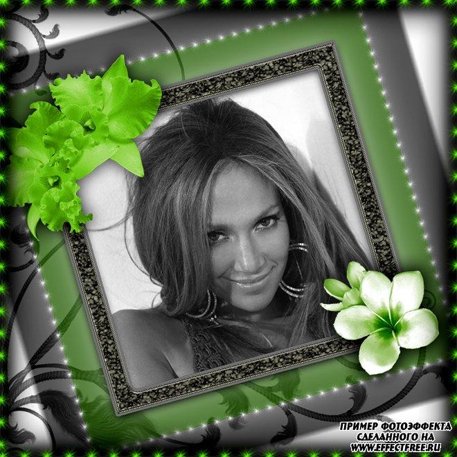 Красивая рамка с зелеными яркими цветами, вставить фото онлайн