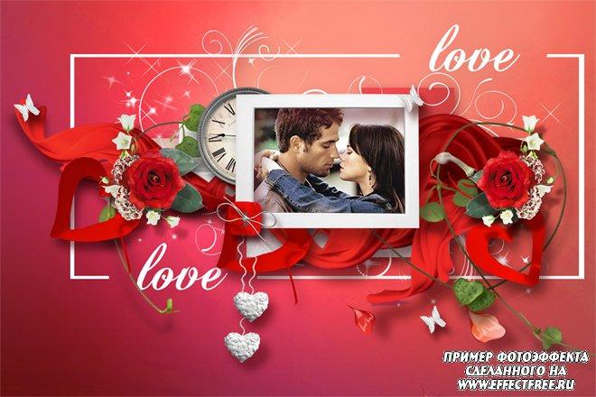 Красивая рамка для влюбленных в красных тонах с часами и сердечками, сделать онлайн