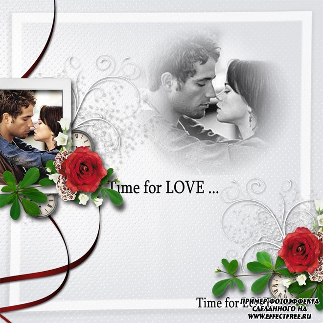 Романтическая рамка на два фото с красными розами, сделать онлайн