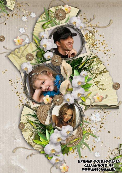Нежная рамка с цветами на три фотографии онлайн