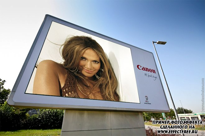 Вставить фото на банер, банер Canon, эффекты онлайн