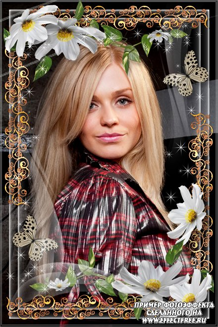 Красивая рамка для фото с бабочкой и белыми цветами, вставить фото онлайн