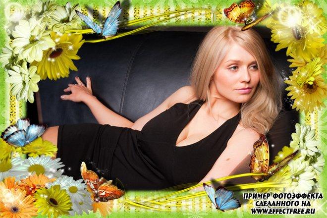 Рамка для фото с летними цветами и бабочками, сделать в онлайн редакторе