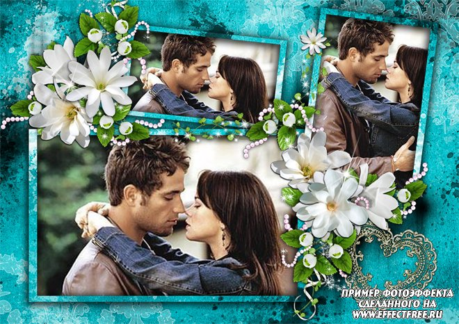 Рамка на 3 фото влюбленных с цветами, вставить фотов рамку онлайн