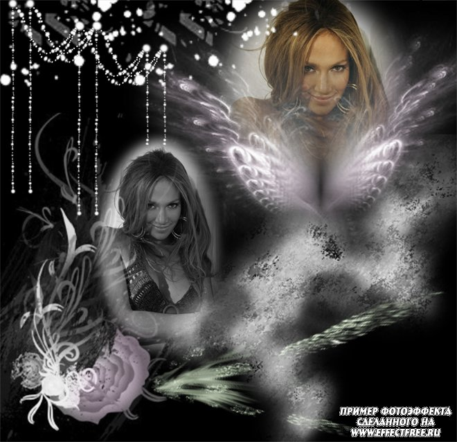 Эффект в черно-белых тонах на два фото с крыльями ангела, сделать онлайн