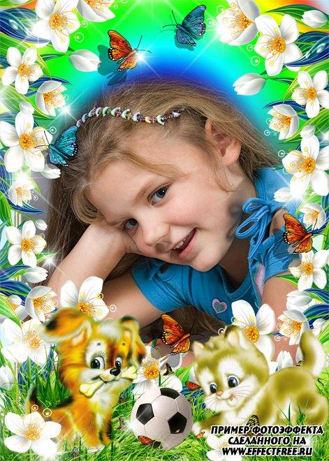 Детская рамочка с цветами и зверятами, вставить фото онлайн
