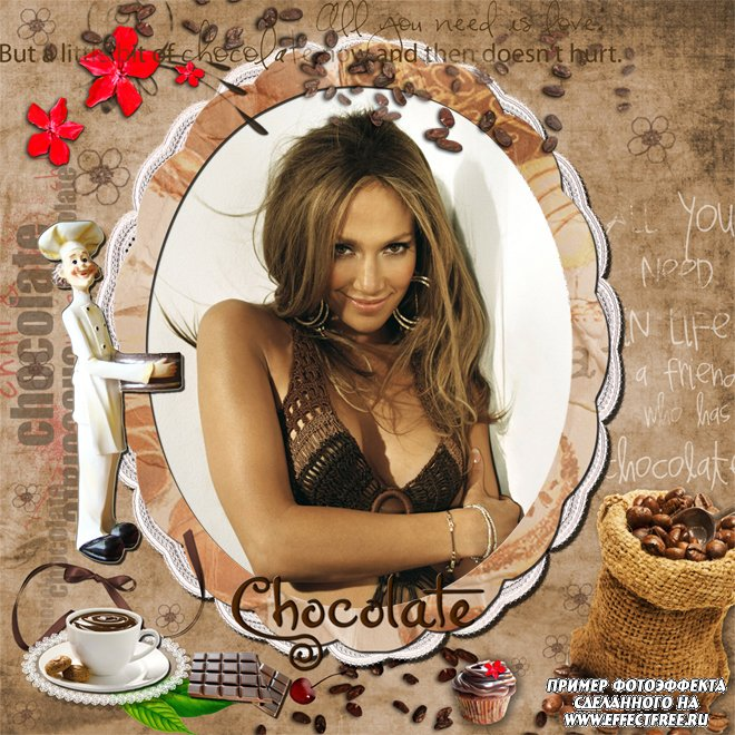 Фоторамочка для фото с надписью Шоколад, сделать в онлайн фотошопе