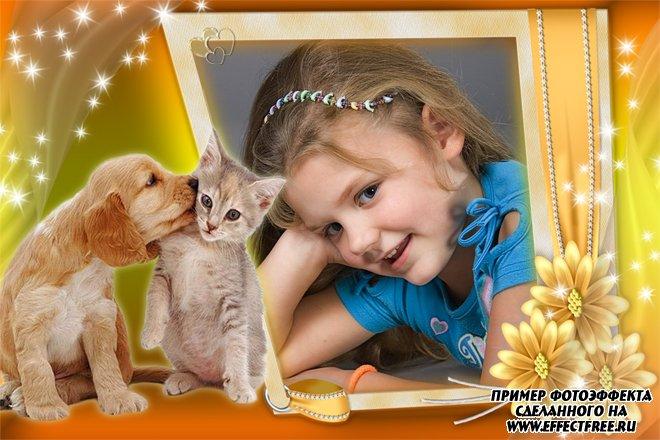 Рамка для фото с милыми котенком и щенком, сделать в онлайн фотошопе