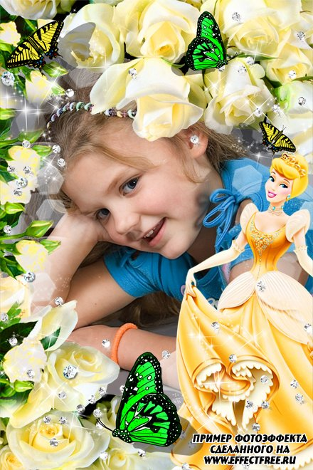 Красивая детская рамка с белыми розами и принцессой, сделать онлайн