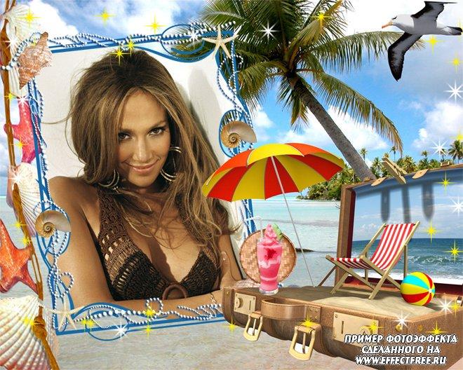 Фоторамка для фото с пальмой на море, сделать в онлайн фотошопе