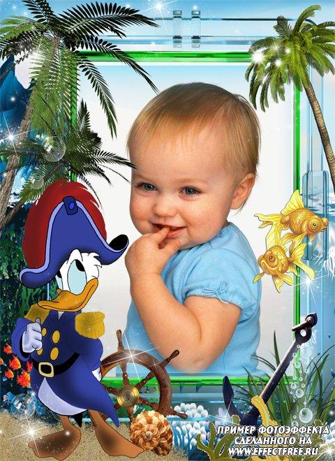 Яркая детская рамка с Дональдом-пиратом, вставить фото онлайн