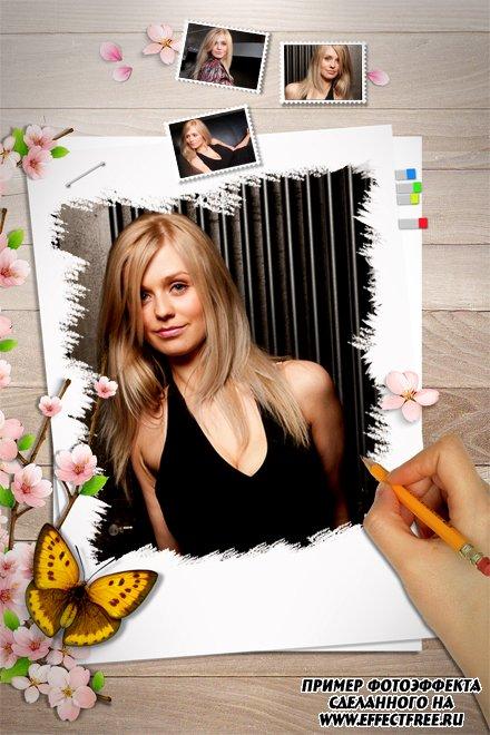Интересный коллаж на четыре фото с цветами и бабочкой, сделать онлайн