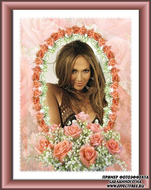 Рамочка с розами в ретро стиле, вставить фото в рамку онлайн