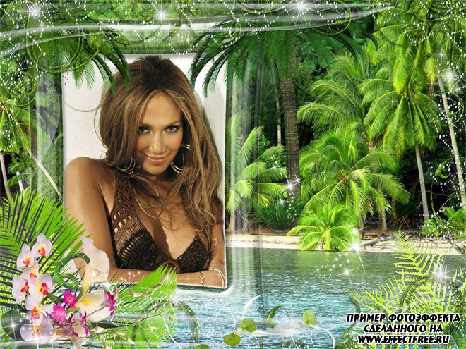 Фоторамочка на фоне тропического острова, сделать в онлайн фотошопе