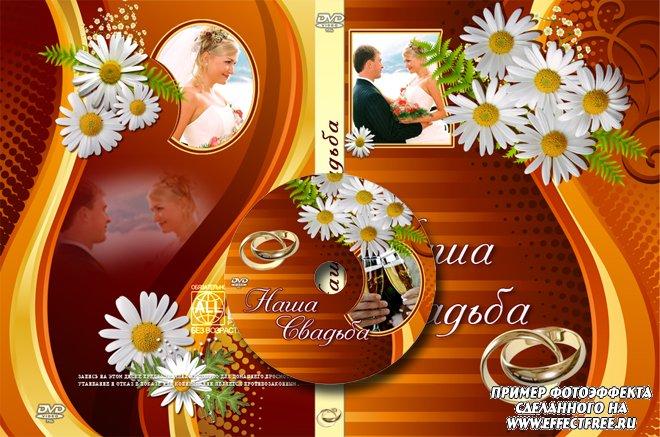 Красивая обложка для свадебного диска с ромашками, вставить фото онлайн