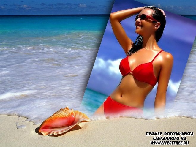 Летний фотоэффект на морском берегу с ракушкой, вставить фото онлайн