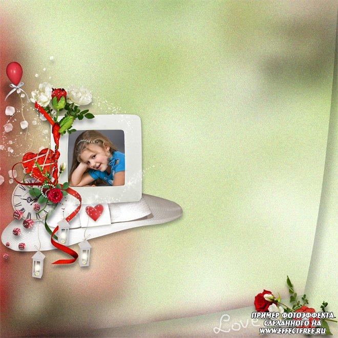 Фоторамочка для фото с цветами и надписью Love, сделать в онлайн редакторе