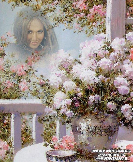 Нежный романтический фотоэффект с прекрасным букетом белых цветов, сделать онлайн