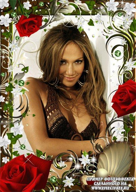 Прекрасная рамка с шикарными красными розами, вставить фото онлайн