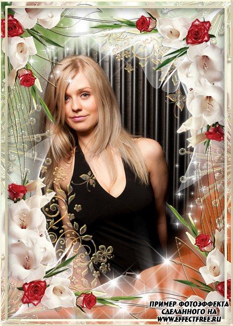 Прекрасная рамка с красными розами и белыми гладиолусами, вставить фото онлайн
