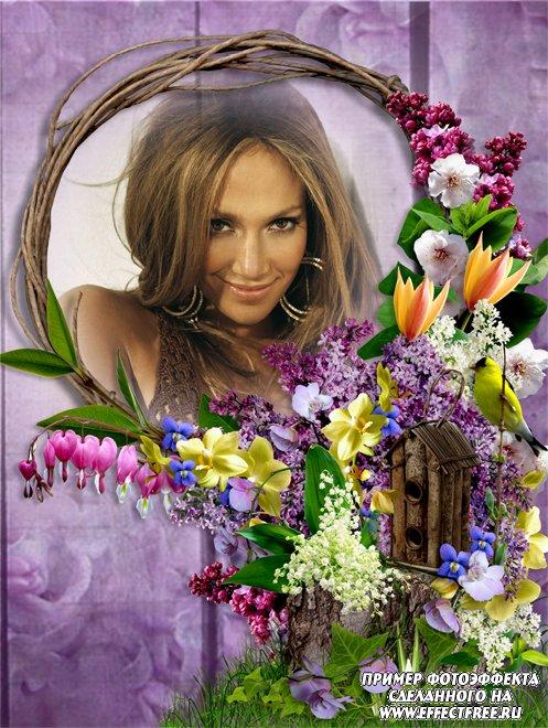 Сиреневая рамочка с большим букетом цветов и птичкой, вставить фото онлайн