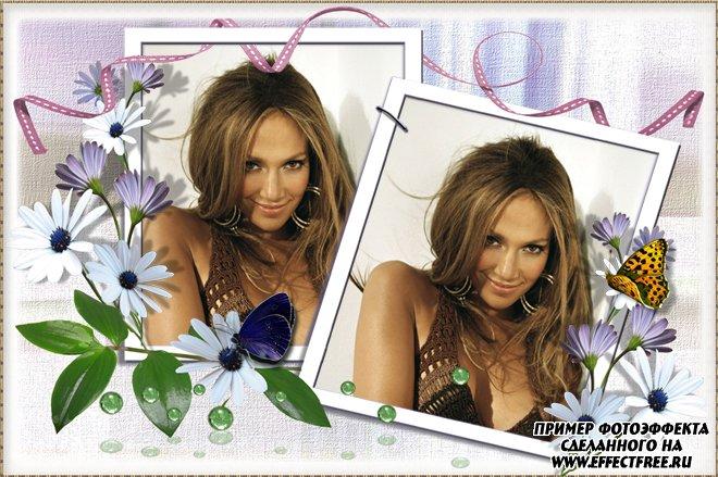 Сделать фоторамочку на 2 фото с цветочками, сделать онлайн фотошоп