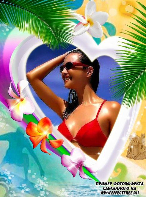 Яркая рамка с пальмами и южными цветами, вставить фото онлайн