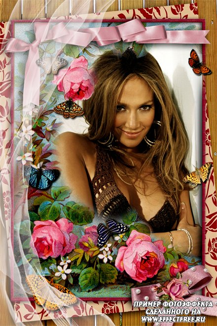 Красивая винтажная рамка с розовыми розами и бабочками, сделать онлайн
