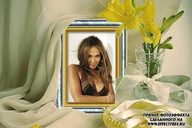 Рамочка для фото портрет на столе с цветами, сделать онлайн фотошоп