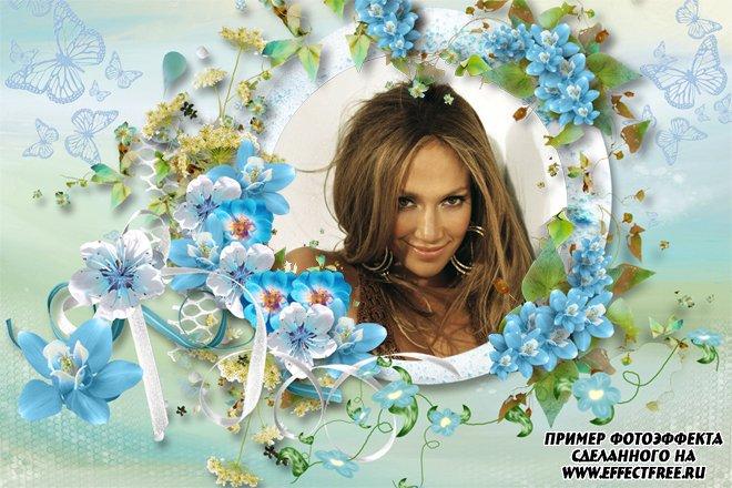 Рамочка для фото с нежными голубыми цветами, вставить фото онлайн