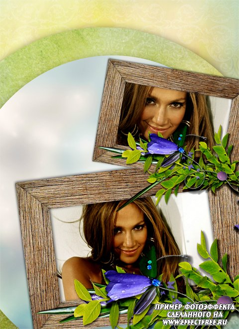 Красивая рамка с колокольчиками на две фотографии, сделать онлайн