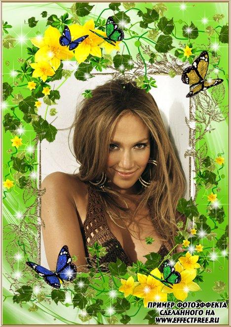 Сделать рамку для фото онлайн с цветами и бабочками, редактор онлайн